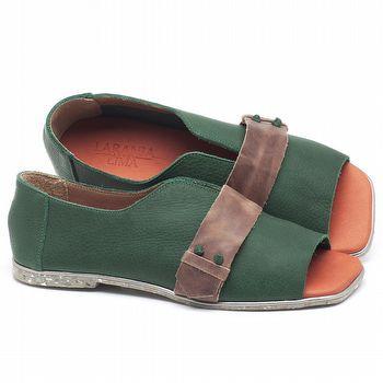 Rasteira Flat em couro Verde Militar - Código - 145036