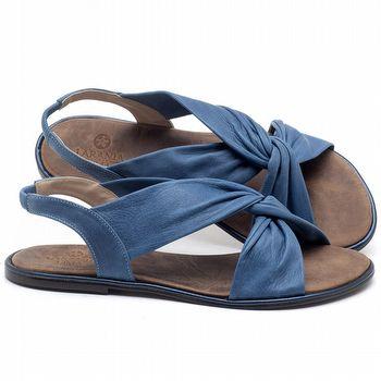 Rasteira Flat em couro Azul Bic - Código - 3654