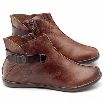 Flat Boot em couro Telha - Código - 137144