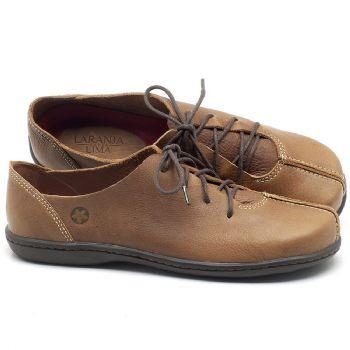 Flat Shoes em couro Marrom Conhaque - Código - 56188