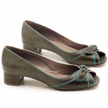 Peep Toe Salto Baixo de 4cm em couro Musgo com Azul Turquesa - Código - 3473