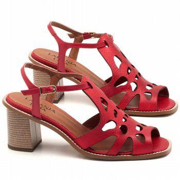 Sandália Salto Médio de 6cm em couro Vermelho - Código - 3508