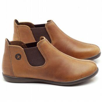 Flat Boot em couro Caramelo - Código - 137166
