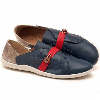 Tênis Cano Baixo em couro azul marinho, off-white e vermelho - Código - 145023