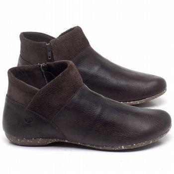 Flat Boot em couro Marrom Chocolate - Código - 148024