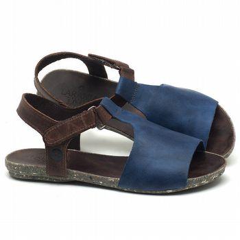 Rasteira Flat em couro azul - CÓDIGO - 137177