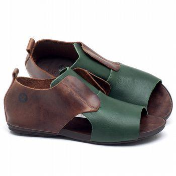 Rasteira Flat em couro marrom com verde - CÓDIGO - 137175