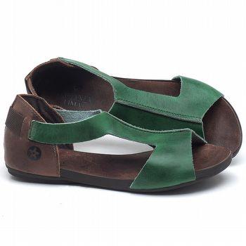 Rasteira Flat em couro Verde - Código - 137186