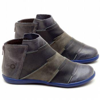 Flat Boot em couro Marinho - Código - 137145