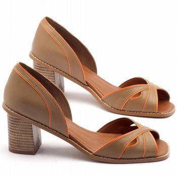 Sandália Salto médio de 7cm em couro fendi - Código - 3460