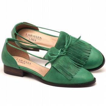 Oxford Flat em couro verde com salto de 2cm - Código - 9433