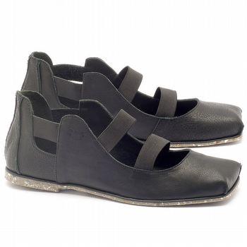 Sapatilha Alternativa em couro preto com palmilha em couro - Código - 145017