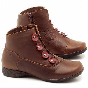 Flat Boot em couro Marrom Telha com Vinho - Código - 141064
