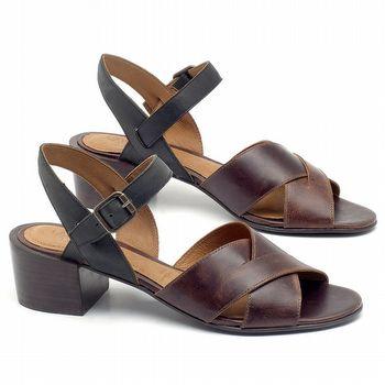 Sandália Salto Médio de 4cm em couro Marrom Tan com Preto - Código - 56171