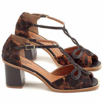 Sandália Salto médio de 6cm em couro animal print onça - Código - 3573