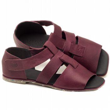 Rasteira Flat em couro roxo ameixa - Código - 145029
