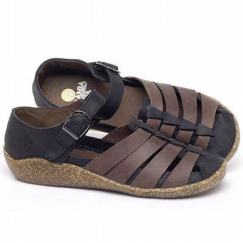 Flat Shoes em couro Preto com Marrom - Código - 139035