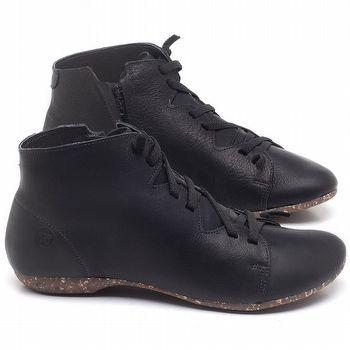 Flat Boot em couro Preto - Código - 148025