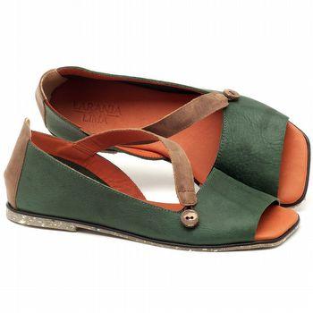 Rasteira Flat em couro verde militar - Código - 145028