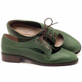 Oxford Flat em couro verde militar - Código - 9435