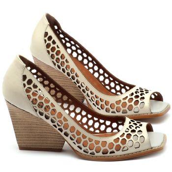 Peep Toe Salto Medio de 6cm em couro off-white - Código - 3498