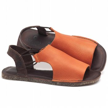 Rasteira Flat em couro laranja - código - 141043