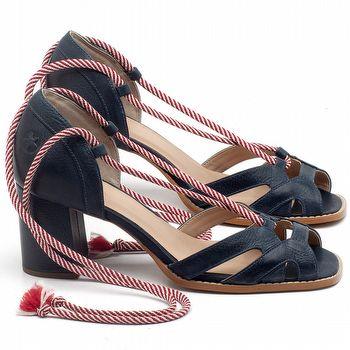 Sandália Salto em couro Azul Marinho - Código - 3661