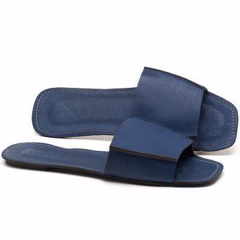 Rasteira Flat em couro Azul Bic - Código - 3709
