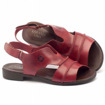 Rasteira Flat em couro vermelho - Código - 136074