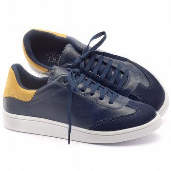 Tênis Cano Baixo em couro azul com amarelo - Código - 99067