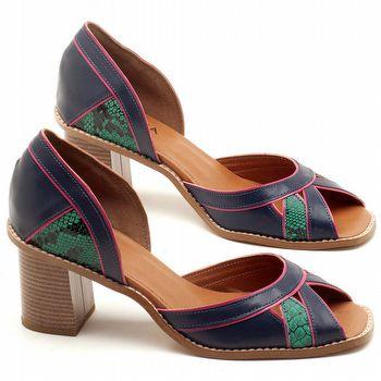Sandália Salto Médio de 6cm em couro Azul Marinho com Animal Print Cobra - Código - 3489