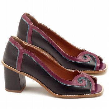 Peep Toe Salto Medio de 6cm em couro preto, vinho e azul - Código - 3578
