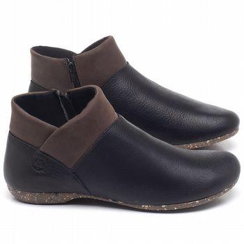 Flat Boot em couro Preto - Código - 148024