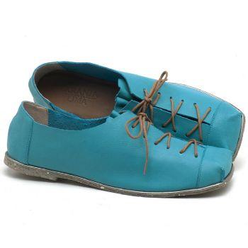 Sapatilha Alternativa em couro Azul Piscina - Código - 145010