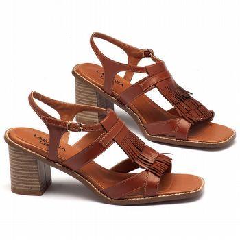 Sandália Salto médio de 7cm em couro marrom - 3463