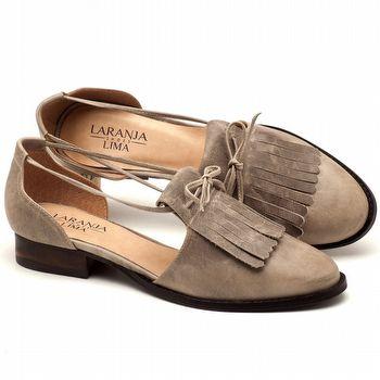Oxford Flat em couro cinza claro com salto de 2cm - Código - 9433