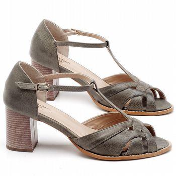Sandália Salto Médio de 6cm em couro Musgo - Código - 3628