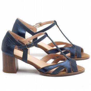 Sandália Salto Médio de 6cm em couro Azul Marinho - Código - 3698