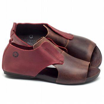 Rasteira Flat em couro marrom com vermelho - CÓDIGO - 137175