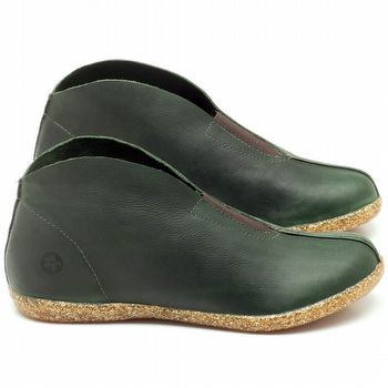 Flat Boot em couro verde militar - Código - 137154