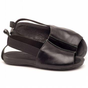 Rasteira Flat em couro preto - Código - 56137