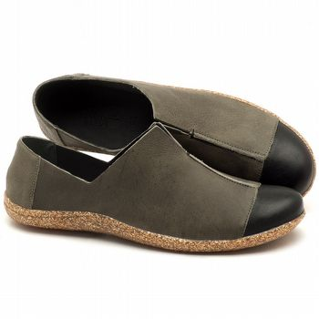 Flat Shoes em couro Musgo com Preto - Código - 145025