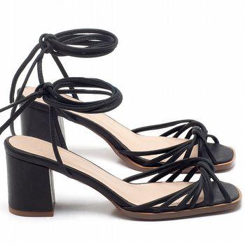 Sandália Salto Médio de 6cm em couro Preto - Código - 3702