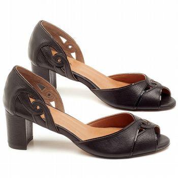 Sandália Salto de 6cm em couro Preto - Código - 3595