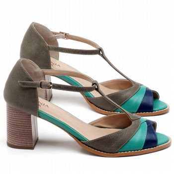 Sandália Salto Médio de 6cm em couro Musgo com Azul - Código - 3622
