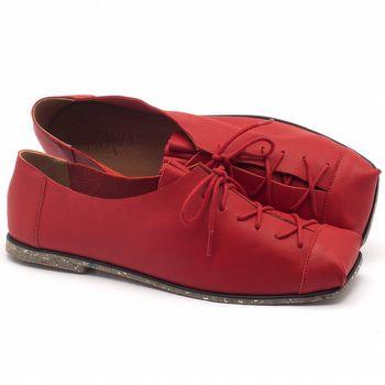 Sapato Fechado Estilo Boho-Chic em couro vermelho - Código - 145010