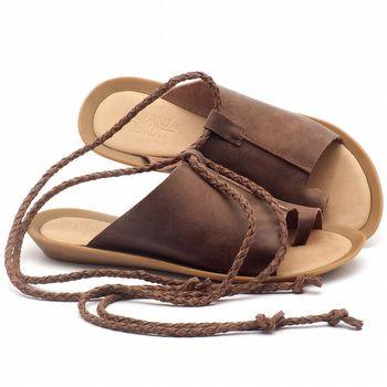 Rasteira Flat em couro marrom - Código - 145021