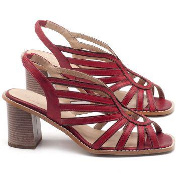 Sandália Salto Médio de 6cm em couro Vermelho Coral - Código - 3647