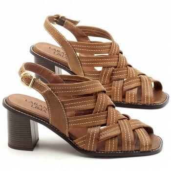 Sandália Salto Médio de 6cm em Couro Caramelo - Código - 3544