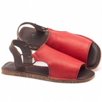 Rasteira Flat em couro vermelho com marrom - Código - 141043